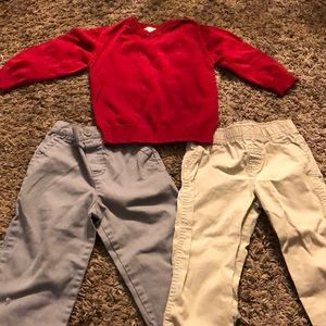 Baby Boys Sz 24M lot of 2 pants and 1 Sweater